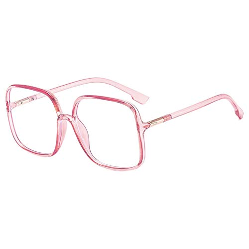 VEVESMUNDO Blaulichtfilter Brillen Ohne Sehstärke Groß Nerdbrille Rechteckig Modern Klassische Anti Müdigkeit Computerbrille Anti Blaulicht Brillenfassung für damen (Durchsichtig Rosa)