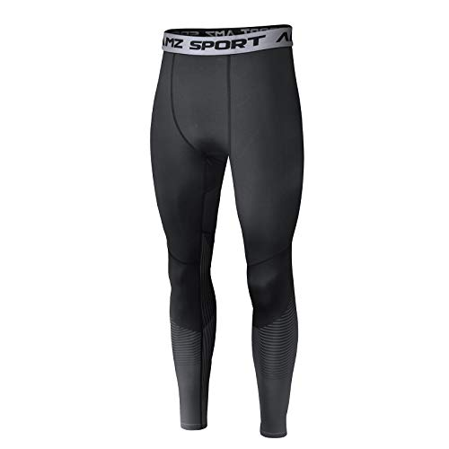 AMZSPORT Herren Sport Kompressionshose Laufhose Baselayer Leggings Trainingshose - Schwarz L
