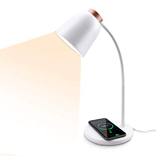 Collen Lampe de bureau LED avec chargeur sans fil à induction Intensité variable Protection des yeux 10 W 3 modes d'éclairage avec fonction mémoire [Classe énergétique A] (ROSE-C)