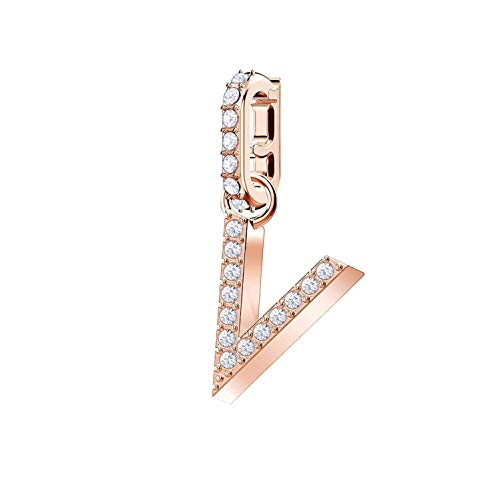 Swarovski 5437610 Remix Collection Charm V, Bianco, Placcato Oro Rosa
