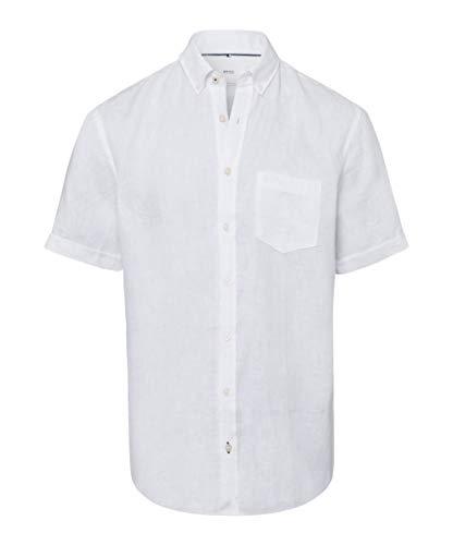 BRAX Herren Style Drake Airwashed Linen Freizeithemd, Weiss, Large (Herstellergröße: L)