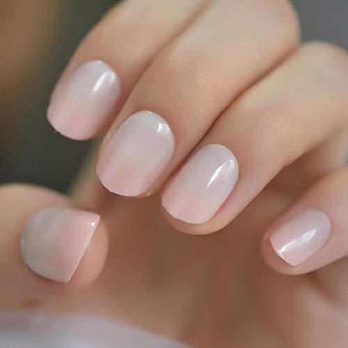 CSCH Faux ongles Naturel court lisse faux ongles tous les jours rose pêche miroitant français ongles court mignon mignon artificiel