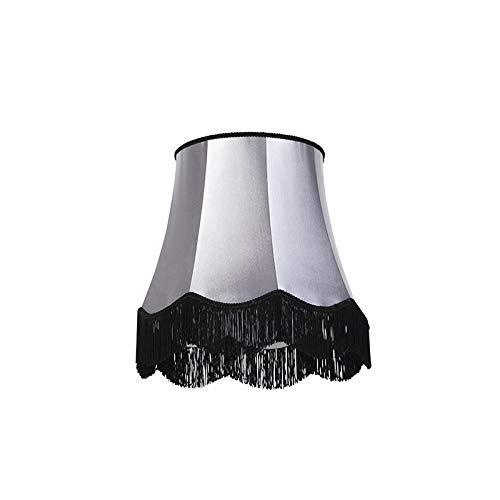 QAZQA Retro Seide Seidenlampenschirm schwarz mit grau 45 cm - Granny, Rund konisch Schirm Pendelleuchte,Schirm Stehleuchte