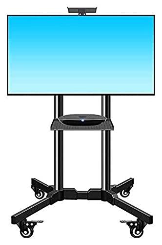 TabloKanvas LIUCHUNYANSH Soporte de TV para piso con ruedas de montaje, (32 – 65 pulgadas) de altura ajustable de doble bandeja para TV (color: negro)