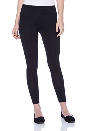 Roman Originals Women Stretch Leggings Trousers Pants - Ladies Cotton High Waisted Pull On Elasticated Waist Smart Casual Yoga Fitness Gym Tummy Control Thick Opaque Shapewear - Black - Size 10