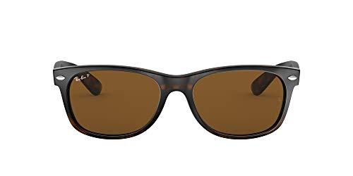 Ray-Ban RB2132 New Wayfarer Sunglasses, Striped Tortoise/Polarized Crystal Brown, 55 mm