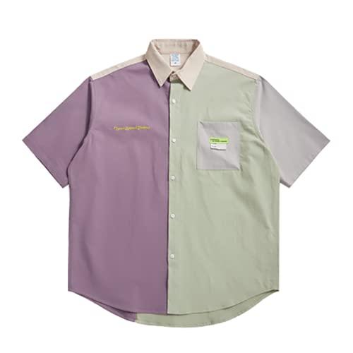 W&TT Camisas para Hombre, Camisa Holgada de Manga Corta, Camiseta de Verano con Solapa y Botones, Estilo...
