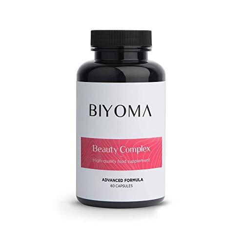 BIYOMA - Beauty Complex - Hair, Skin & Nails Vitamins - Advanced Formula - Hydrated Skin, Shiny Hair and Strong Nails, (60 Day Supply 60 Caps)