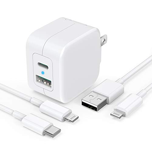 [Apple MFi Certified] iPhone Fast Charger, GEONAV 20W Dual Port GaN Tech USB C Wall Charger Foldable Plug&2Pack 6FT Lightning Cable, PD/QC3.0 Type C Rapid Charger for iPhone 12/11/XS/XR/X/iPad/Airpods