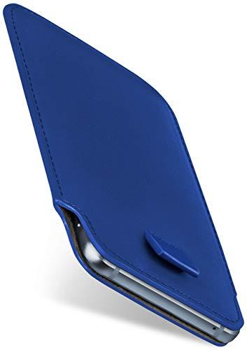 moex Slide Hülle für CAT S60 - Hülle zum Reinstecken, Etui Handytasche mit Ausziehhilfe, dünne Handyhülle aus edlem PU Leder - Blau
