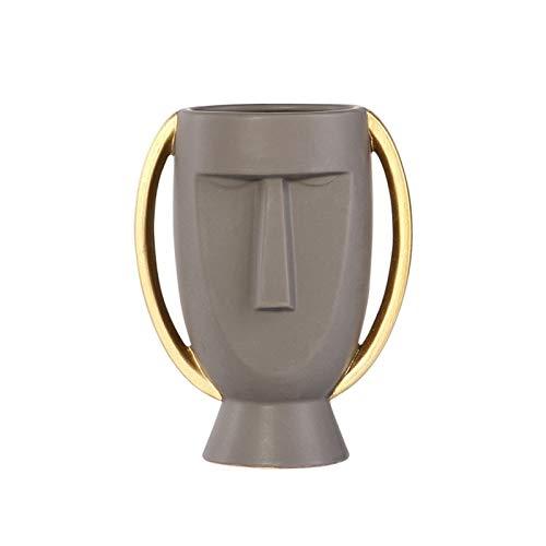 LICHUAN Jarrón de flores para decoración del hogar, jarrón de cerámica de imitación blanca, maceta de cerámica, decoración nórdica, floreros, decoración del hogar (color: L)