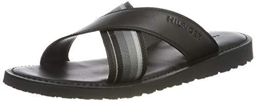 Tommy Hilfiger Criss Cross Leather Sandal, Sandalias con Punta Abierta Hombre, Negro (Black 990), 42 EU