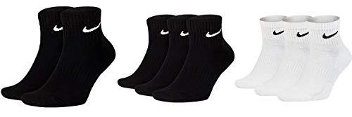 Nike Calcetines para hombre y mujer, color blanco y negro, cortos, 8 pares de tobillos, calcetines deportivos, 34-38, 38-42, 42-46, 46-50 Blanco, negro y negro. Aprox.134 cm