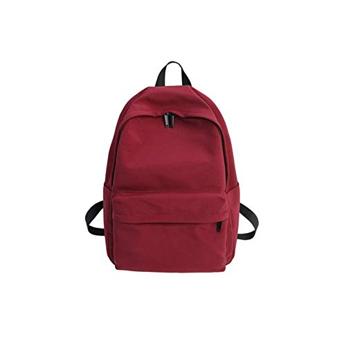 HUYUE Travel Backpack Solid Canvas Backpack Teenagers Grils Women Casual Large Capacity School Bag Simple College Wind,Black,29cm x12cm x40cm