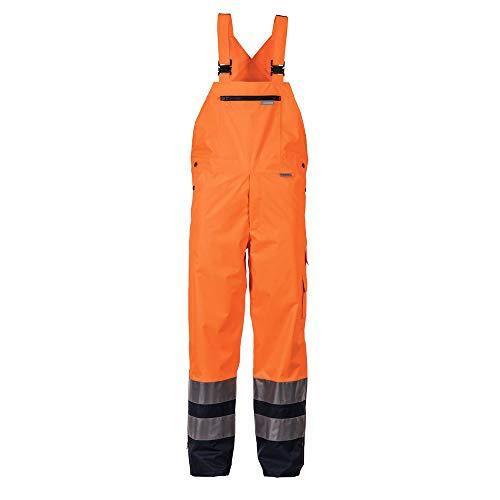 Planam Regen-Latzhose Warnschutz, Größe XXL in orange/Marine, 1 Stück, 2066060