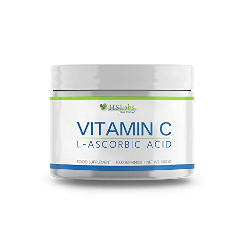 HSLabs Vitamin C 500g Powder High Dosage 500 mg 1000 Servings L Ascorbic Acid Antioxidant Protection Immune System Protein Metabolism Support Essential Vitamin Support Digestive Function