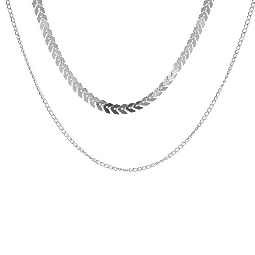 maofan Geometrische Pijl Pailletten Ketting, Dames Mode Kraag, Dubbele Korte Ketting Sieraden Zilveren