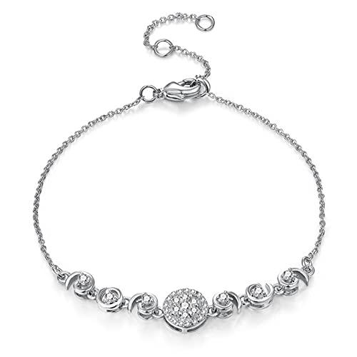 Pulsera para mujer, estilo de lujo, micro incrustaciones de circonita, cristal, color oro rosa, joyería deregalo de boda, H120