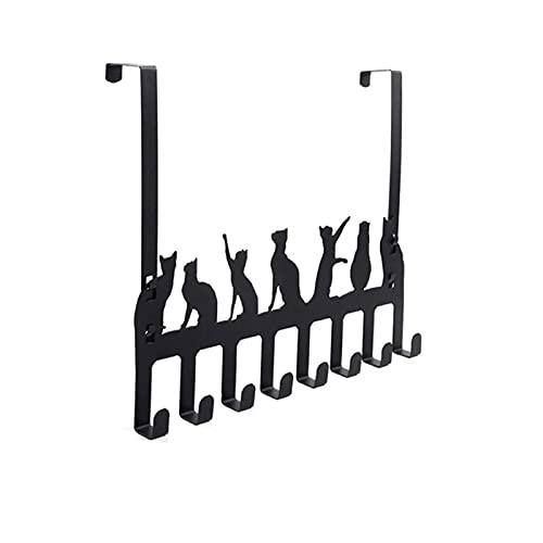 DXENXPG Gancho de Puerta sobre la Puerta Gancho Colgador 8 Ganchos Percha Abrigo Sombrero Bolsa de Toalla Corbatas Gato diseño Ganchos para Abrigos de Porche (Color : Black, Size : 40x34cm)