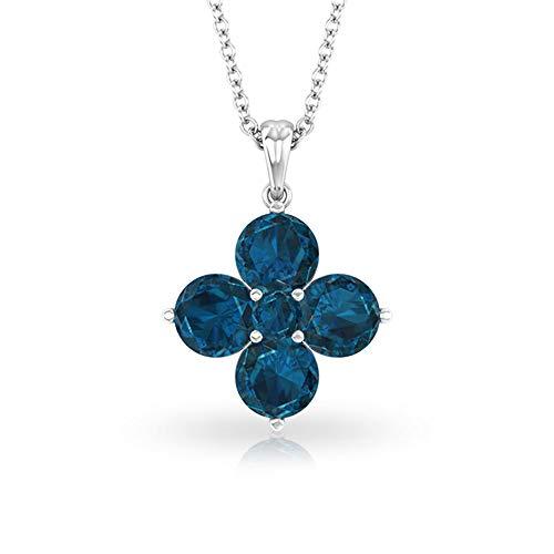 Collar con colgante de flor de topacio azul de Londres de 2,36 quilates, certificado SGL de piedra azul para novias, collar de boda, colgante de aniversario de piedra natal de noviembre