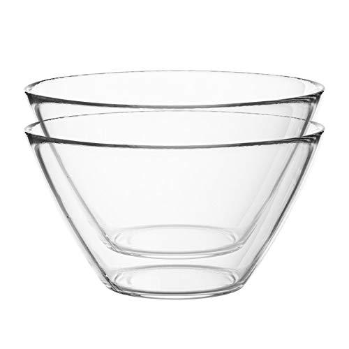 Bormioli Rocco 6pc Basic Glass Kitchen Mixing Bowl Set – for Preparation and Service – 4L
