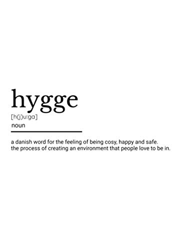 Hygge Danish Word: Typography Definition Print Home Interior Design Table Decor | On Trend Stack-able Book - Large Text On Cover & Spine - 7'x 10'