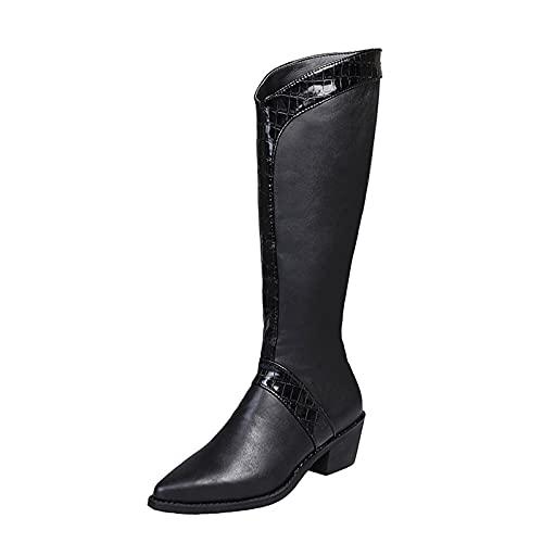Wszbdoh Stivali da donna con tacco alto e tacco alto, stile retrò, per adolescenti, da equitazione, con plateau, stivali da cavaliere, stivali da moto (nero, 39)