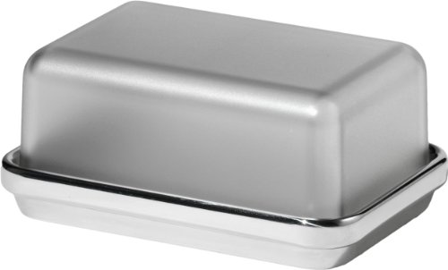 Alessi Butterdose aus Edelstahl glänzend poliert mit Deckel aus SAN, grau