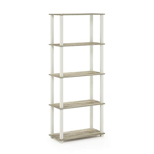 Furinno Turn-S 5-Tier Multipurpose Shelf Display Rack with Square Tubes, Sonoma Oak/White -  18123