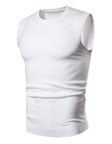 Lavnis Men's Round-Neck Pullover Vest Casual Sleeveless Knitted Slim Fit Sweater Vest White M