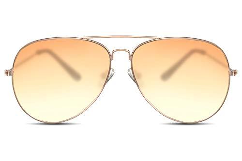 Cheapass Gafas de Sol Gafas Piloto Doradas Metálicas Cristales Translúcidos Naranjas a Amarillos Mujer