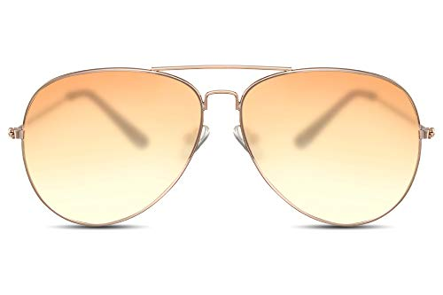 Cheapass Sonnenbrille Gold Orange Transluzent Fliegerbrille Pilotenbrille Festival-Accessoire Metall Damen Frauen