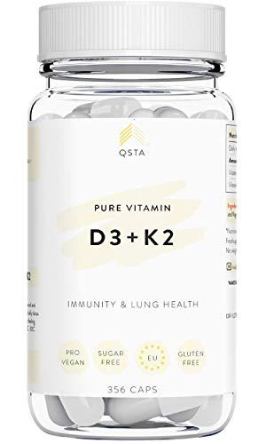 Vitamina D3 + K2 (365 DIAS) - Vitamina D + Vitamina K, Mejora el Sistema Inmune, Funcion Muscular, Protege los Pulmones y Mejora Huesos/Dientes - Sin Gluten & Sin Soja +MEDICOS