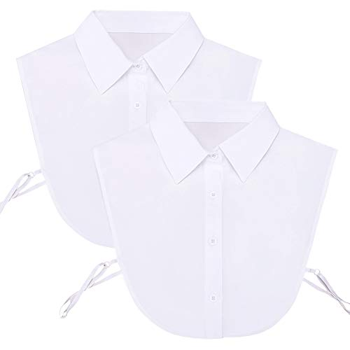 Shinywear Detachable Pointed Collar Classic Fake Doll Shirt Half Blouse for Women Office Lady Work Dickey Tops (2pcs White Pointed Collar)