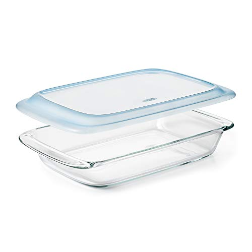 Oven Safe 3 Qt Glass Baking Dish with Lid, 9 x 13