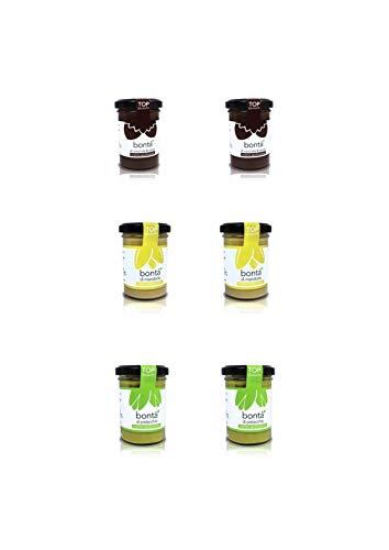 Creme spalmabili senza aggiunta di zuccheri(6x100g): 2xnocciole-cacao, 2xmandorle, 2xpistacchio