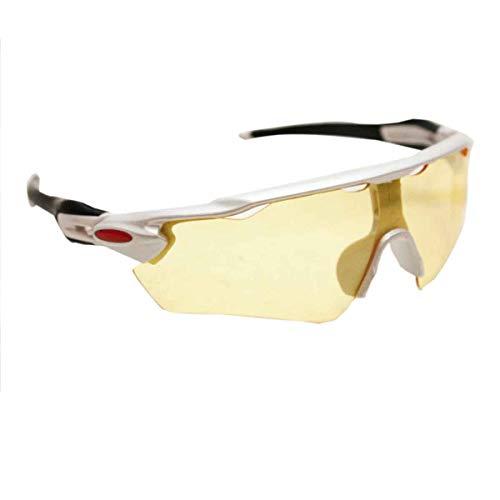 Óculos Esportivo Sol Bike Ciclismo Proteção Uv Sol (Amarelo com Branco)