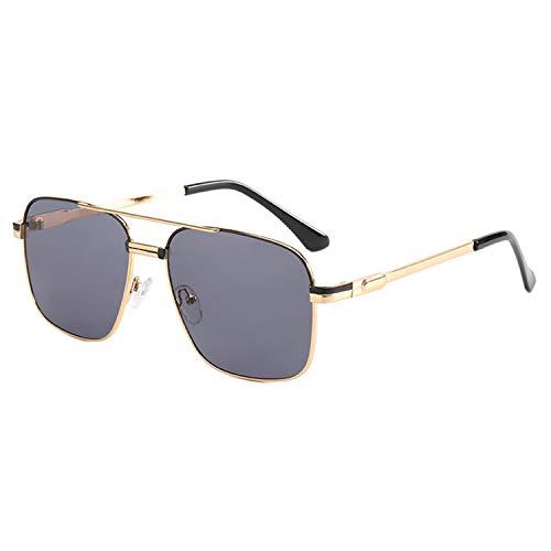 HUANGDAN Gafas de Sol de Metal de Moda de Las señoras, Gafas de Sol de Marco Grande de Moda, Personalidad Gafas de Sol de fotografía de Calle Lisa,D