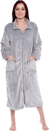 Silver Lilly Women's Full Length Zip Up Robe - Plush Fleece Long Zipper Housecoat (Light Grey, Large/X-Large)