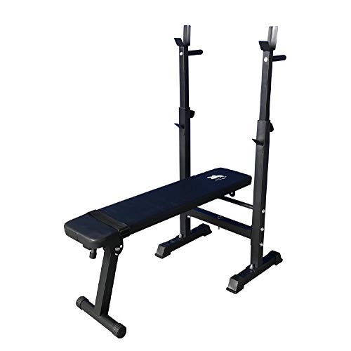 Fit4home Ltd Adjustable Folding Sit Up Weight Bench Barbell Dip Station Lifting Chest Press Black