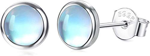 Milacolato 925 Sterling Silver Moonstone Stud Earrings 14K White Gold Synthetic Round Moonstone Stud Earrings Small Stud Earrings for Women 4MM 5MM 6MM 7MM