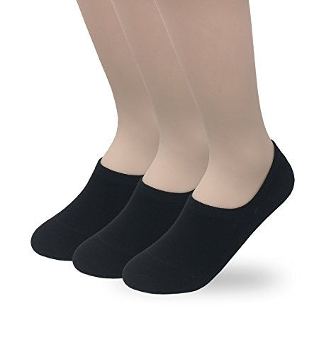 Eedor Women's 3 Pack No Show Low Cut Socks Thin Invisible Cotton Casual Non Slip Socks Hidden Flat Boat Liner S17 Black