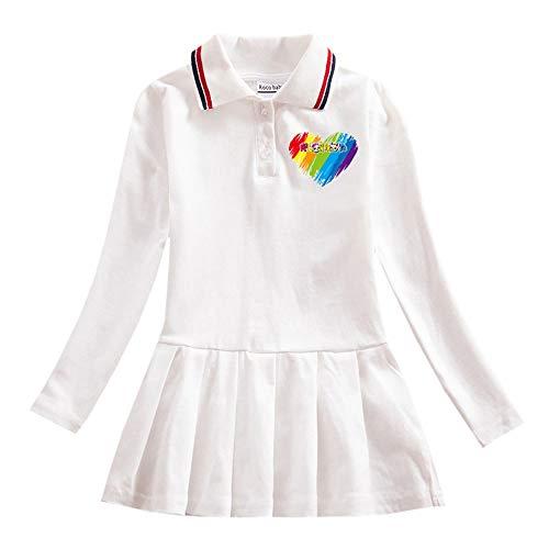 O&K New Girl 2020 bébé College Robe de Style bébé à Manches Courtes Princesse Jupe Populaires Les vêtements,Blanc,140cm