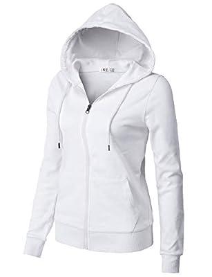 H2H Women's Casual Zip-up Hoodie Basic Long Sleeve Hoodie White US L/Asia L (CWOHOL030) by