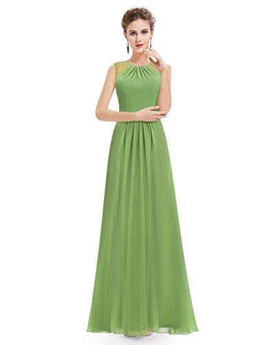 Ever-Pretty Damen Elegant Ärmellos Perlen Lang Abendkleider Maxikleider Größe Grün 44