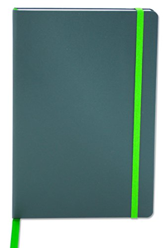"""BookFactory Journal/Writing Notebook/Green Blank Diary/Lined Pages Book - 192 Pages, 5.25"""" x 8.27�, Hardbound, Banded, Bookmark (JOU-192-CCS-G)"""