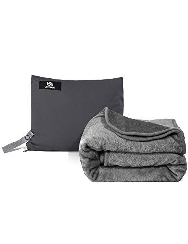 LEISIME Tragbare 4-in-1-Reisedecke. Kompaktes Flugzeug-Decke. Mit Tasche und integrierter Tasche – kompakte Packung, große Decke für Jede Reise (grau)