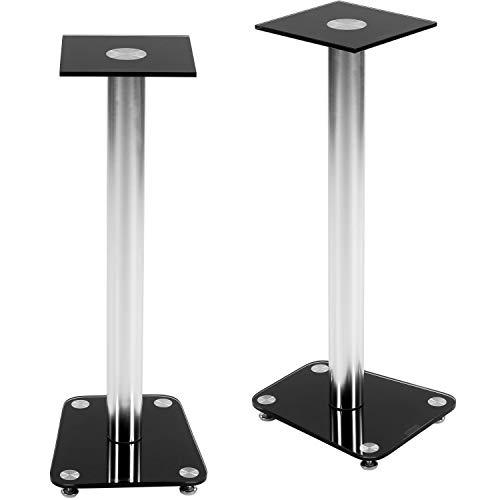STILISTA 2er Set Lautsprecher Boxen Ständer Varianten: Klarglas und Schwarzglas integrierter Kabelkanal, verchromte Alu Tubes Tragkraft bis 20 kg! schwarz