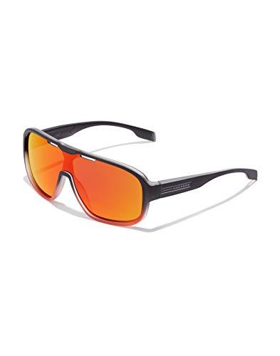 HAWKERS · Gafas de Sol Infinite Ruby, para Hombre y Mujer, de diseño deportivo, combina montura bicolor de negro a naranja translúcido con lente de máscara espejada naranja rubí, Protección UV400