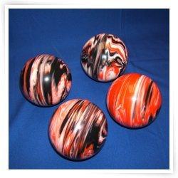 BuyBocceBalls Premium Quality EPCO 4 Ball 107mm Tournament Bocce Set - Marbled Black/Orange...